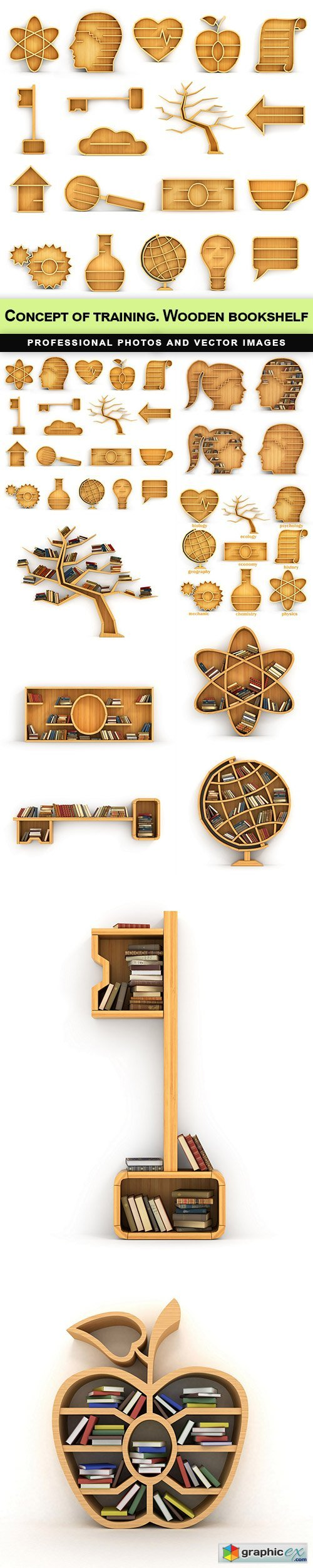 Concept of training. Wooden bookshelf - 10 UHQ JPEG