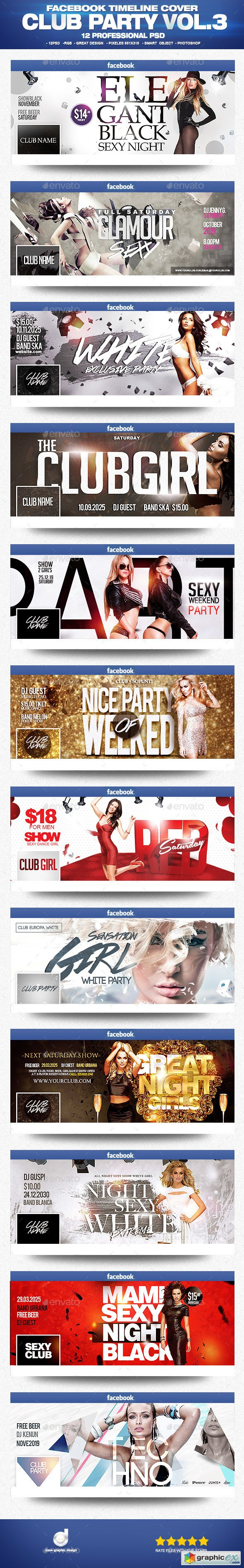 Facebook Timeline Cover Package Club Party Vol.3