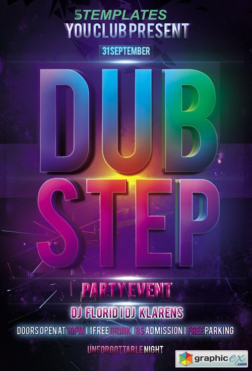 Dubstep Party Flyer PSD Template
