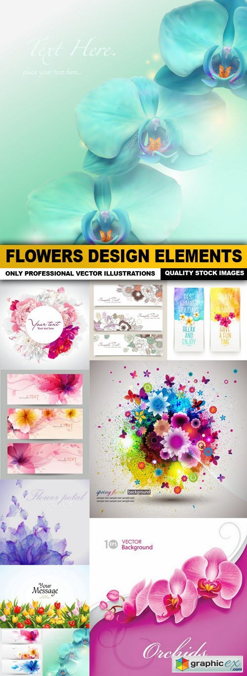 Flowers Design Elements - 11 Vector