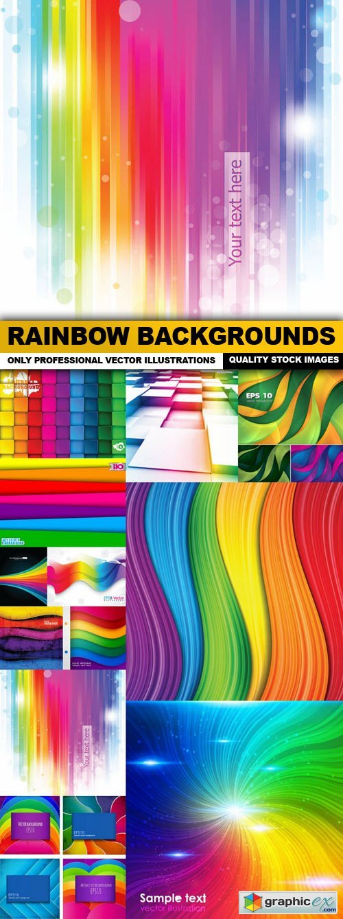 Rainbow Backgrounds - 12 Vector