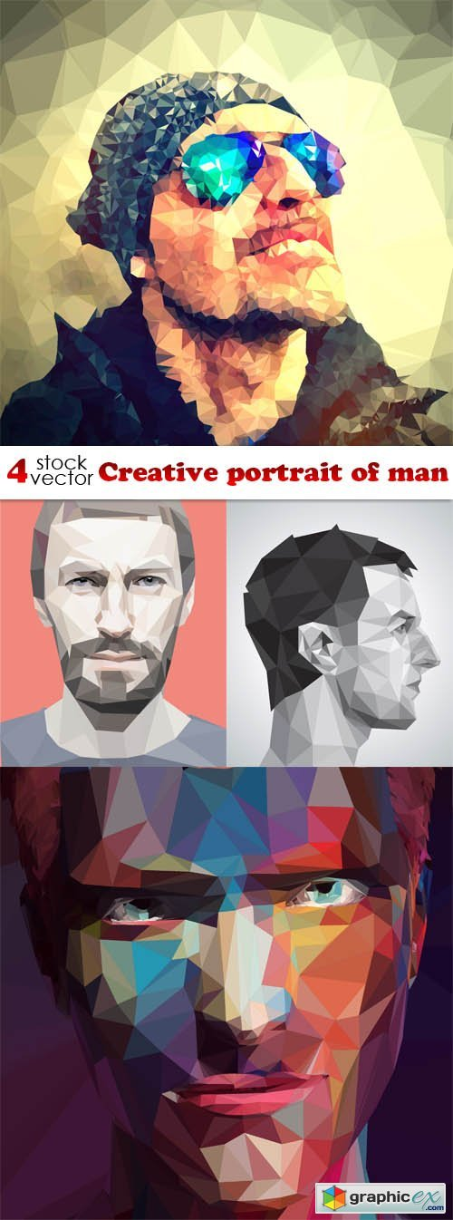Vectors - Creative portrait of man