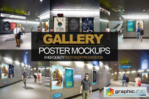 9iN 1 Gallery Poster Mockups PACK