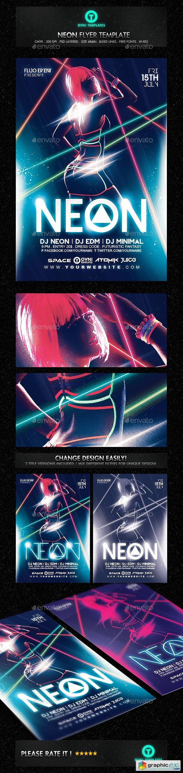 Neon Laser Fluo Light Sexy Flyer Template