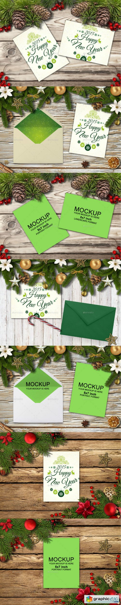 Happy New Year Cards And Invites Mockup Maker