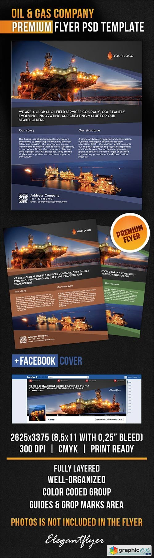 Oil & Gas Company Flyer PSD Template + Facebook Cover