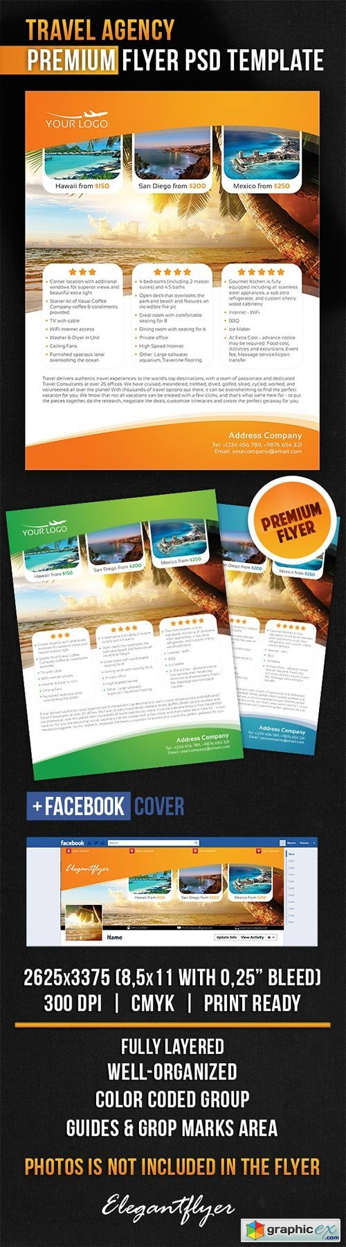 Travel Agency Flyer PSD Template + Facebook Cover