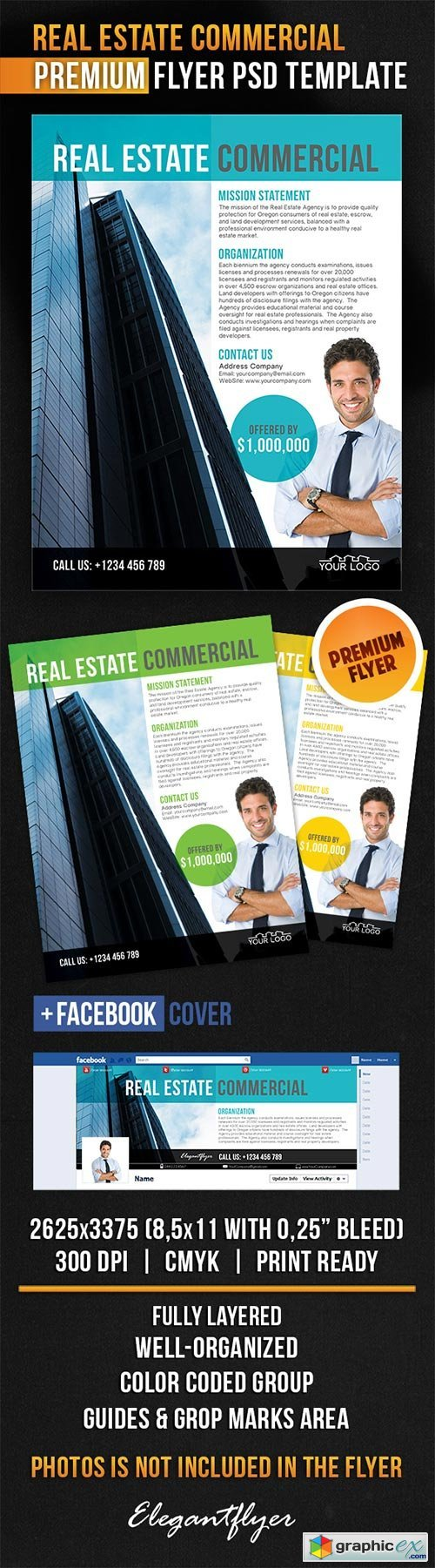 Real Estate Commercial Flyer PSD Template + Facebook Cover