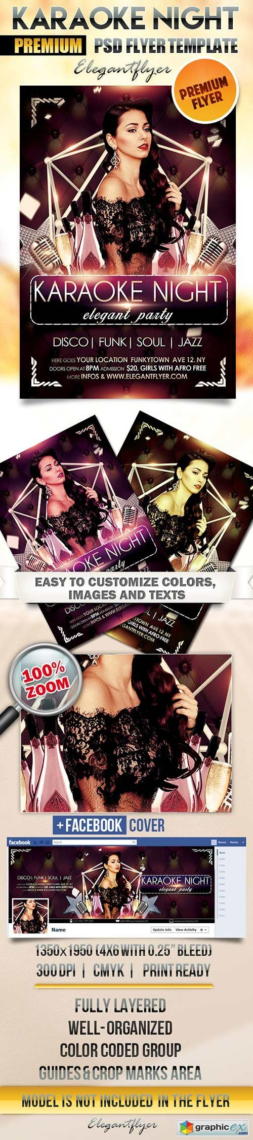 Karaoke Night Flyer PSD Template + Facebook Cover