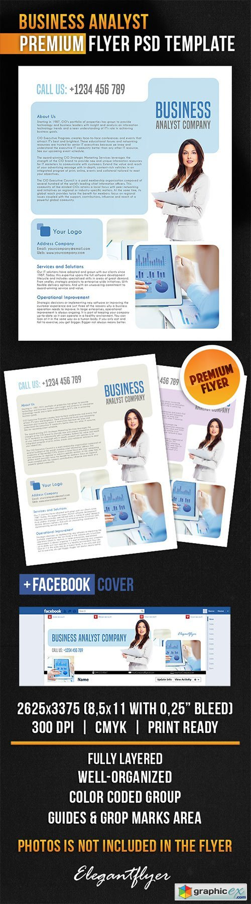 Business Analyst Flyer PSD Template + Facebook Cover