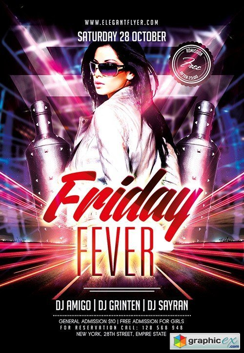 Friday Fever Flyer PSD Template + Facebook Cover
