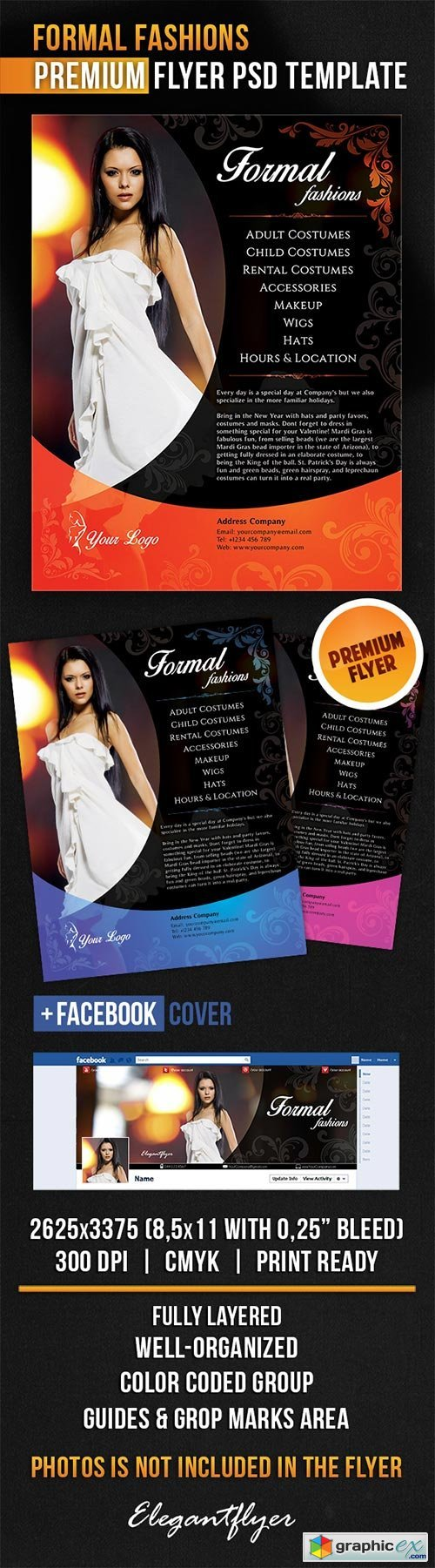 Formal Fashions Flyer PSD Template + Facebook Cover