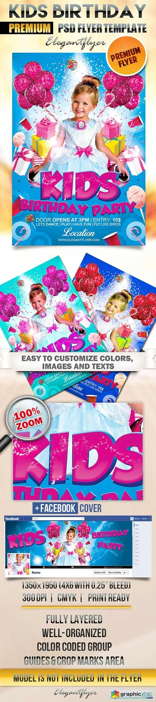 Kids Birthday Party Flyer PSD Template + Facebook Cover