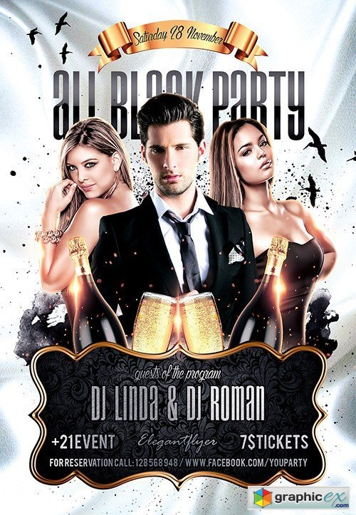 All Black Party Flyer PSD Template + Facebook Cover