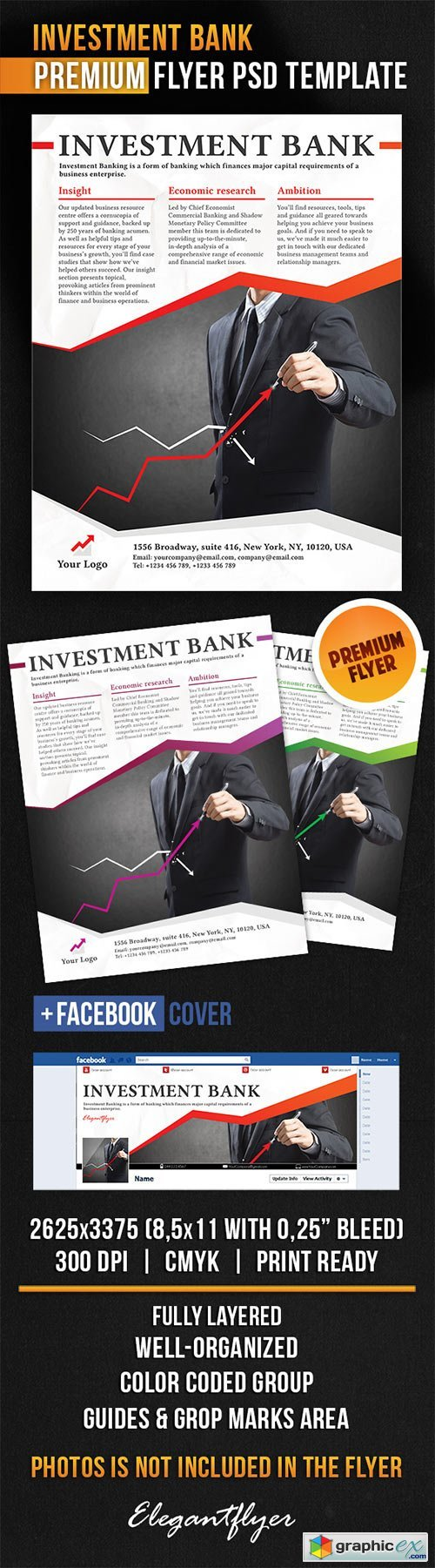 Investment Bank Flyer PSD Template + Facebook Cover