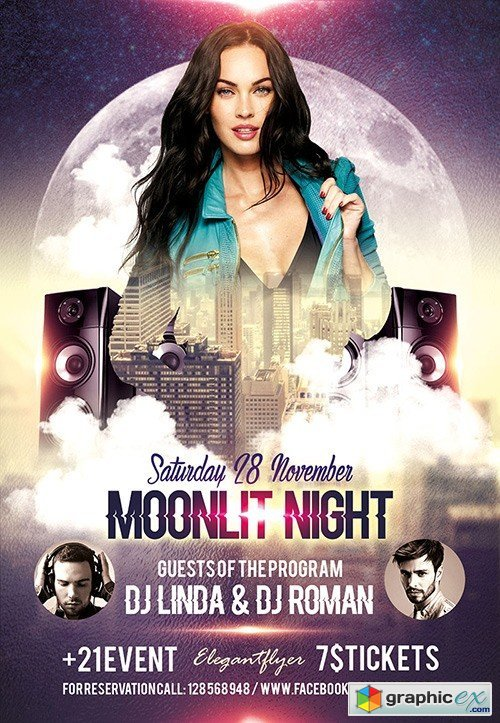 Moonlit Night Flyer PSD Template + Facebook Cover
