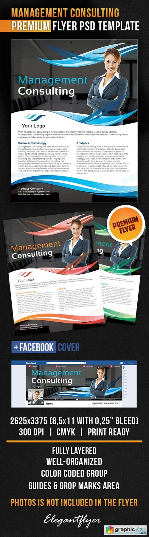 Management Consulting Flyer PSD Template + Facebook Cover