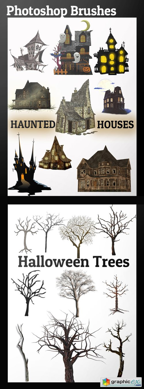 Photoshop Brushes - Haunted Houses & Halloween Trees