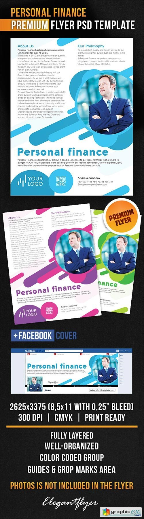 Personal Finance Flyer PSD Template + Facebook Cover