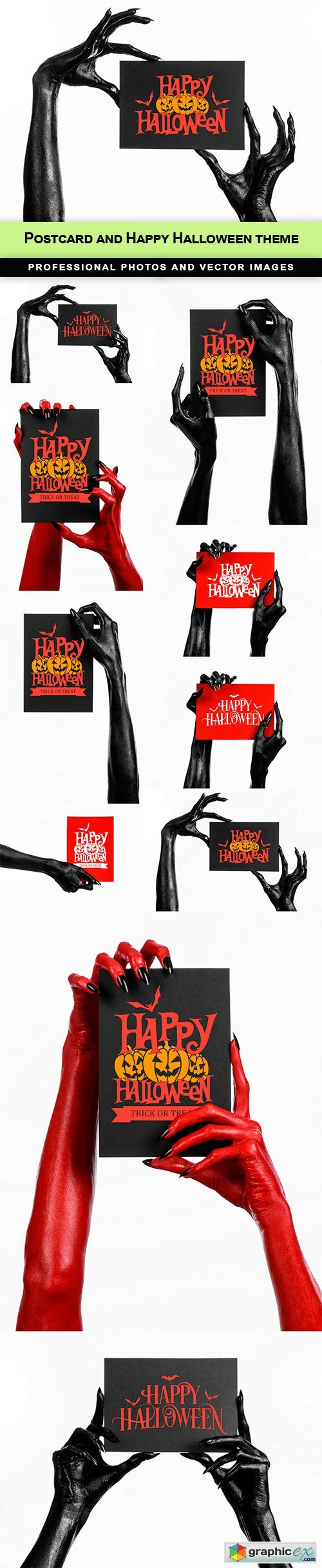 Postcard and Happy Halloween theme - 10 UHQ JPEG