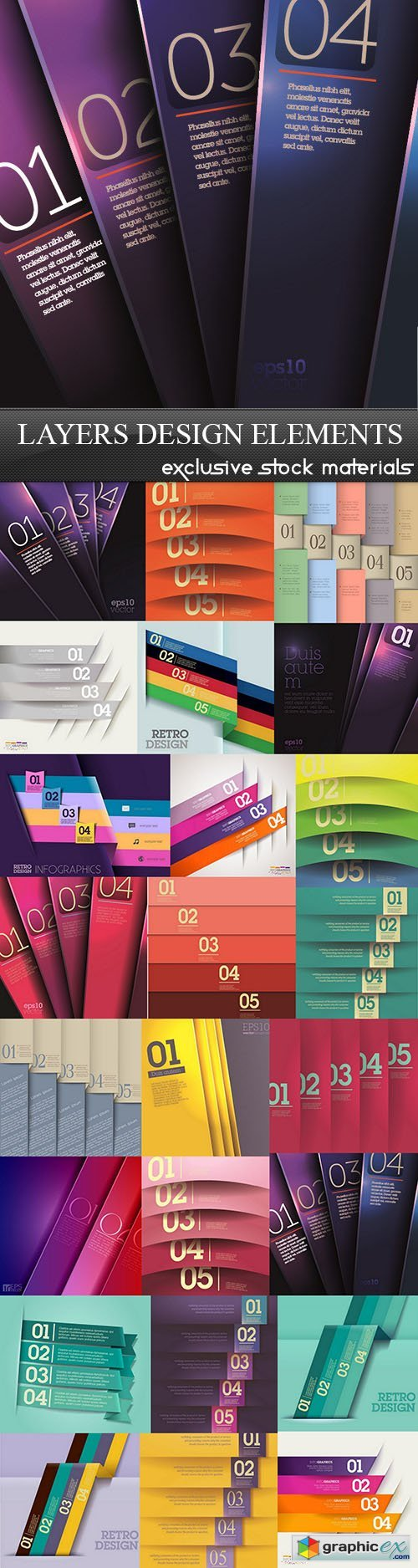Layers Design Elements, 25xEPS