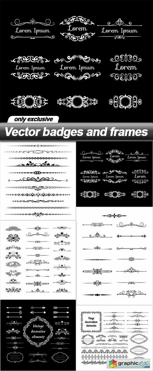 Vector badges and frames - 6 EPS