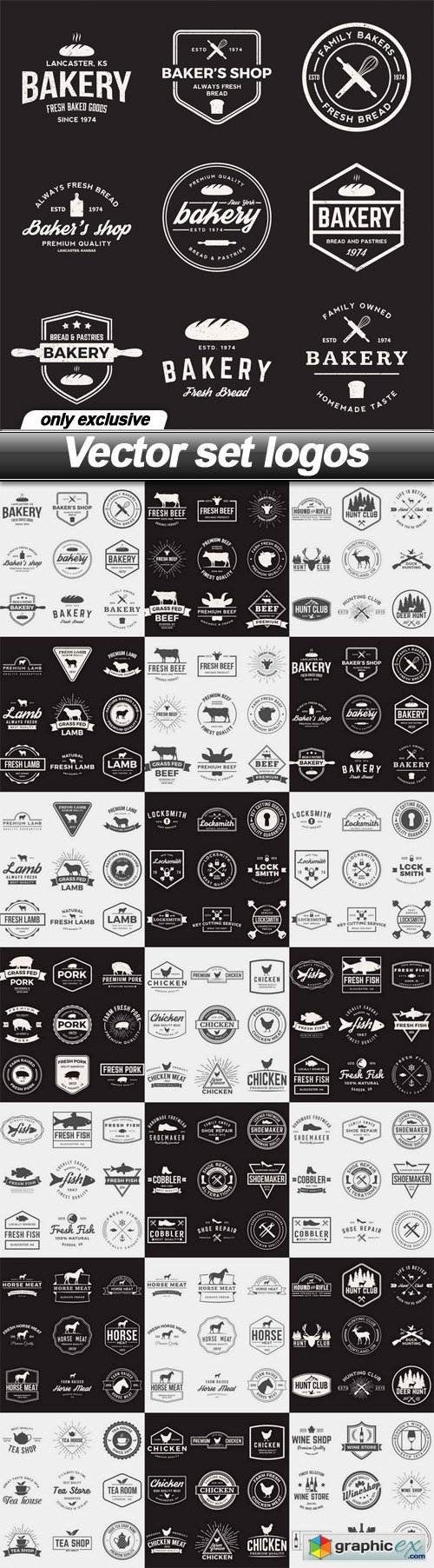 Vector set logos - 21 EPS