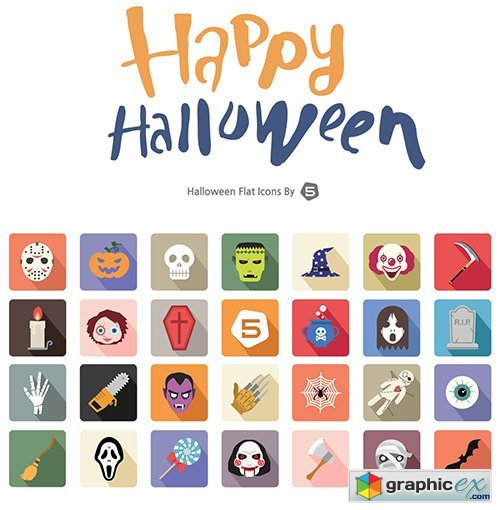 Happy Halloween Vector Icons - October 2015