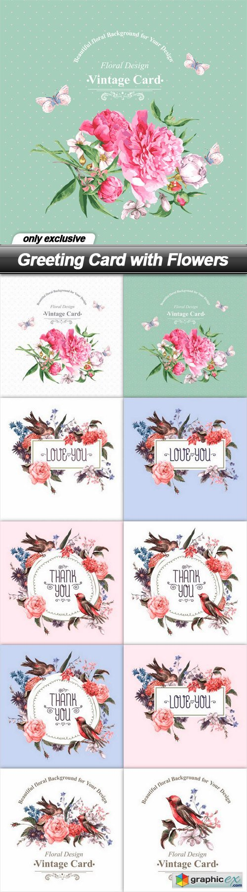 Greeting Card with Flowers - 10 EPS