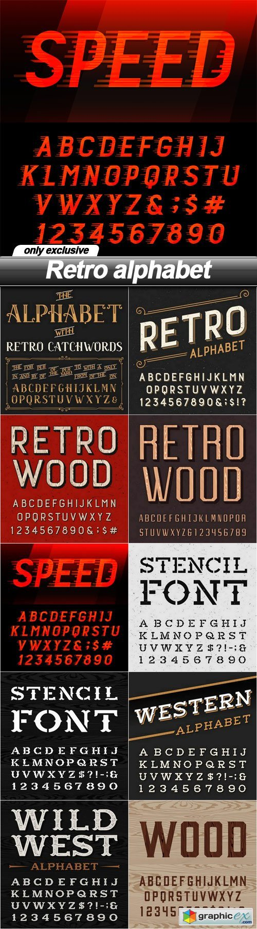 Retro alphabet - 10 EPS