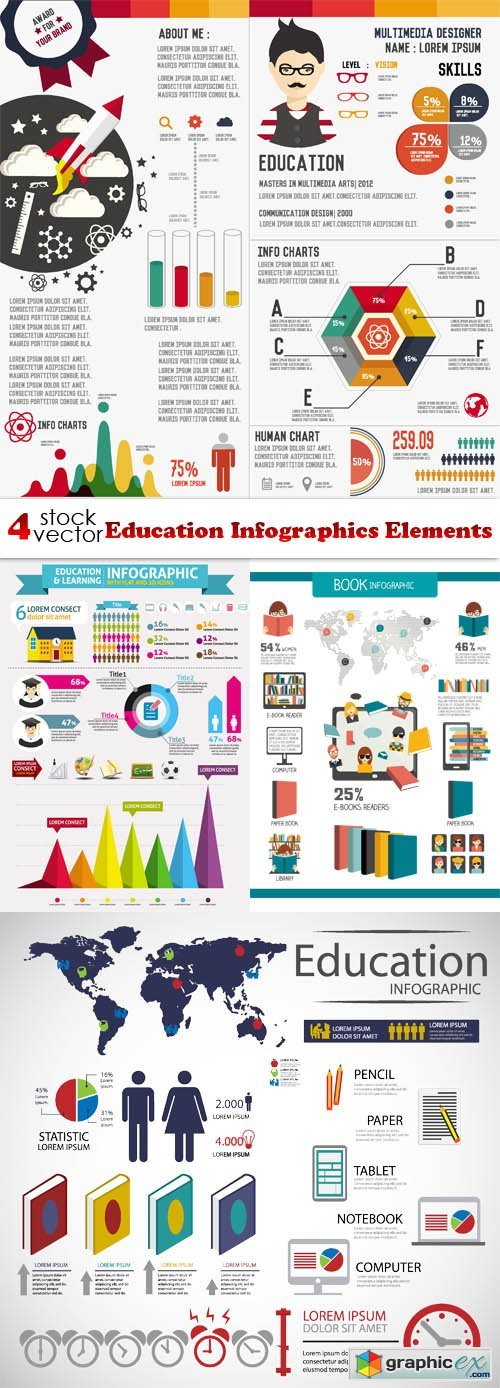 Vectors - Education Infographics Elements