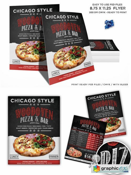 Wood Oven Pizza Menu Flyer