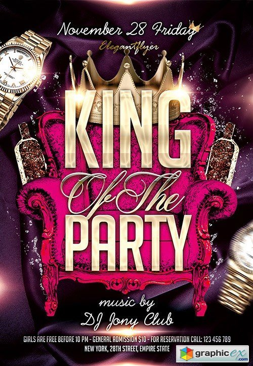 King Of The Party Flyer PSD Template + Facebook Cover