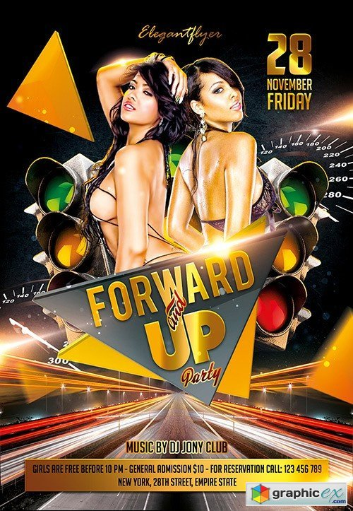 Forward and up Party Flyer PSD Template + Facebook Cover