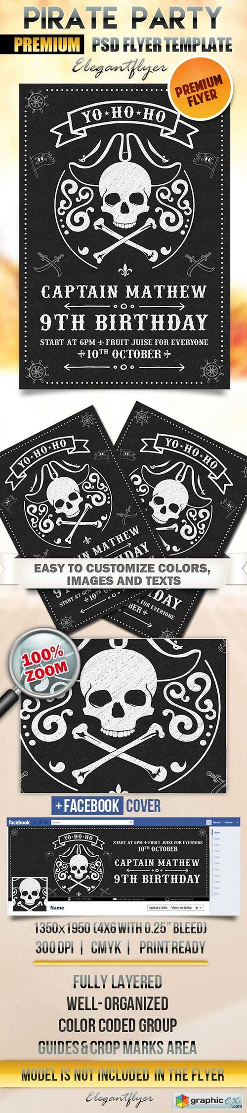 Pirate Party Flyer PSD Template + Facebook Cover