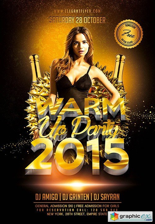 Warm Up Party Flyer PSD Template + Facebook Cover