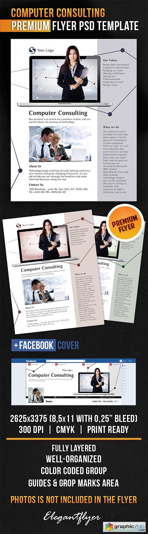 Computer Consulting Flyer PSD Template + Facebook Cover