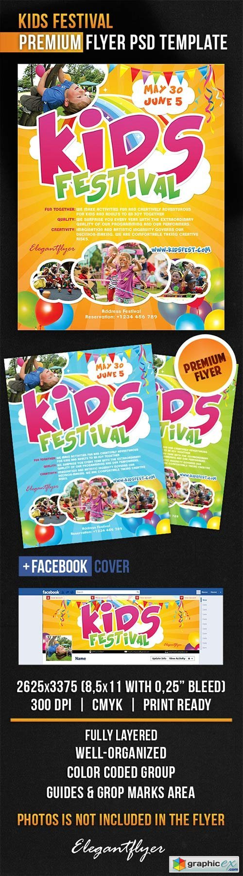 Kids Festival Flyer PSD Template + Facebook Cover