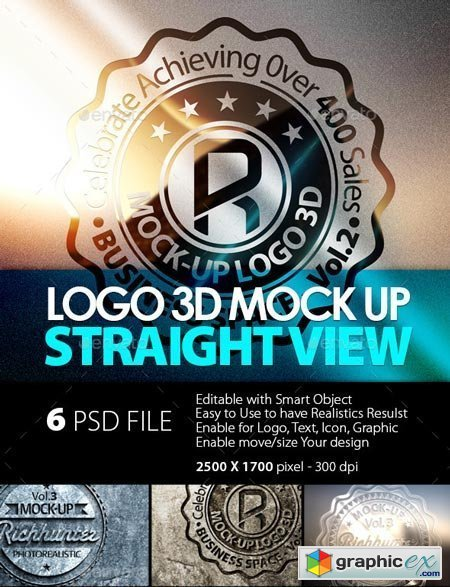 Mock-Up Logo 3D Straight View / Vol.3