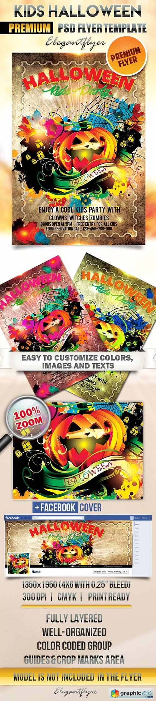 Kids Halloween Party Flyer PSD Template + Facebook Cover