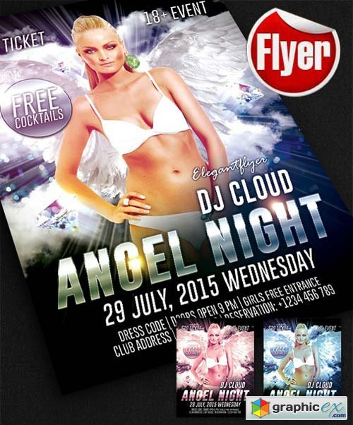 Angel Night Flyer Template + Facebook Cover