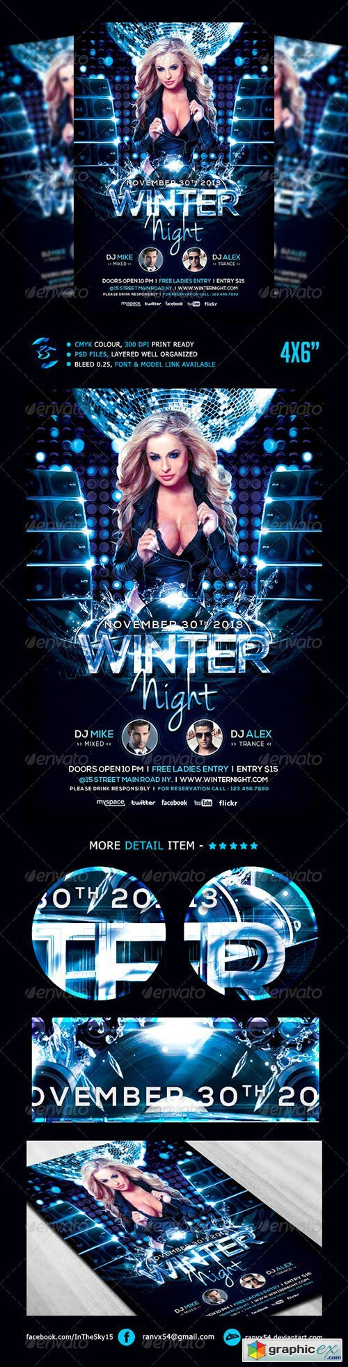 Winter Night Flyer Template 5478697 » Free Download Vector