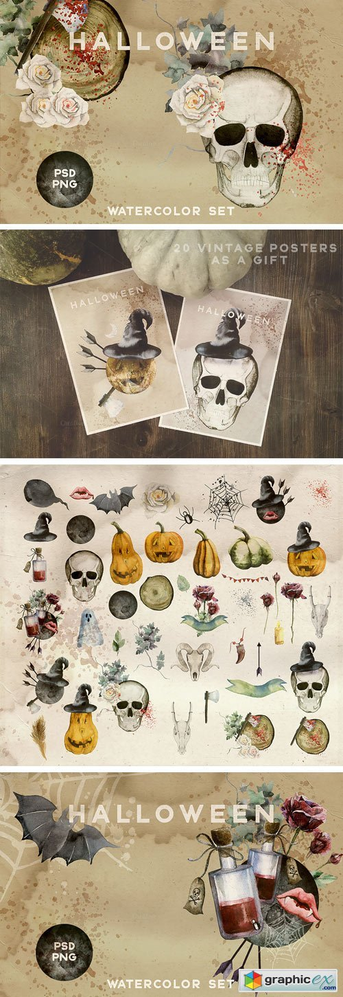 Watercolor Halloween Vintage Set