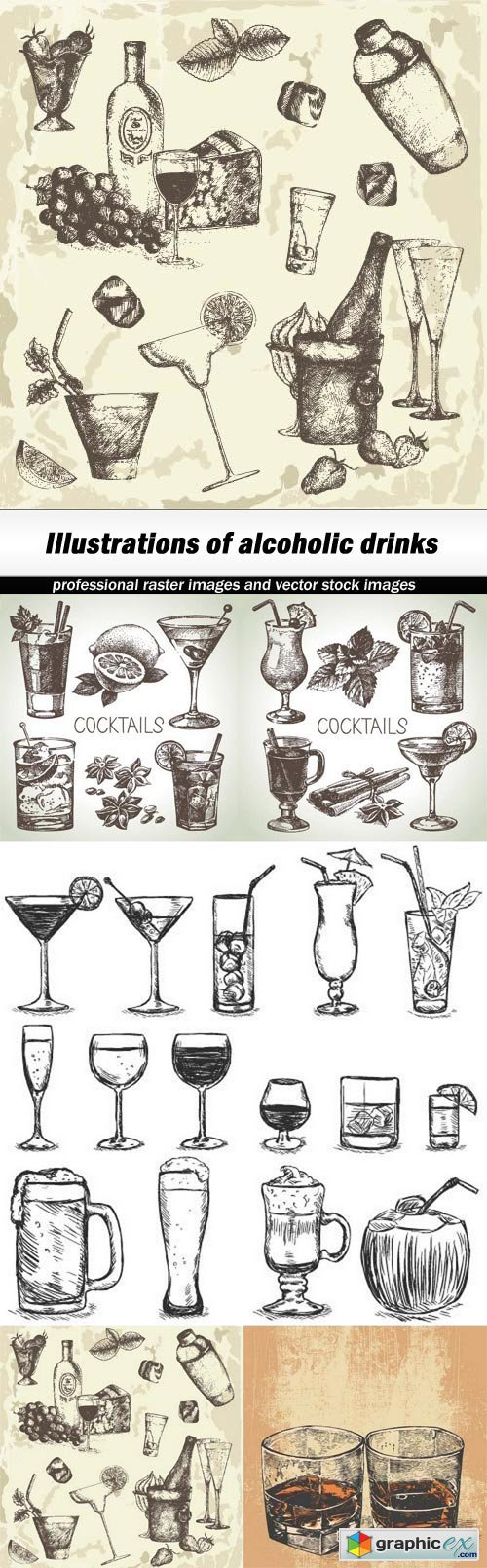 Illustrations of alcoholic drinks