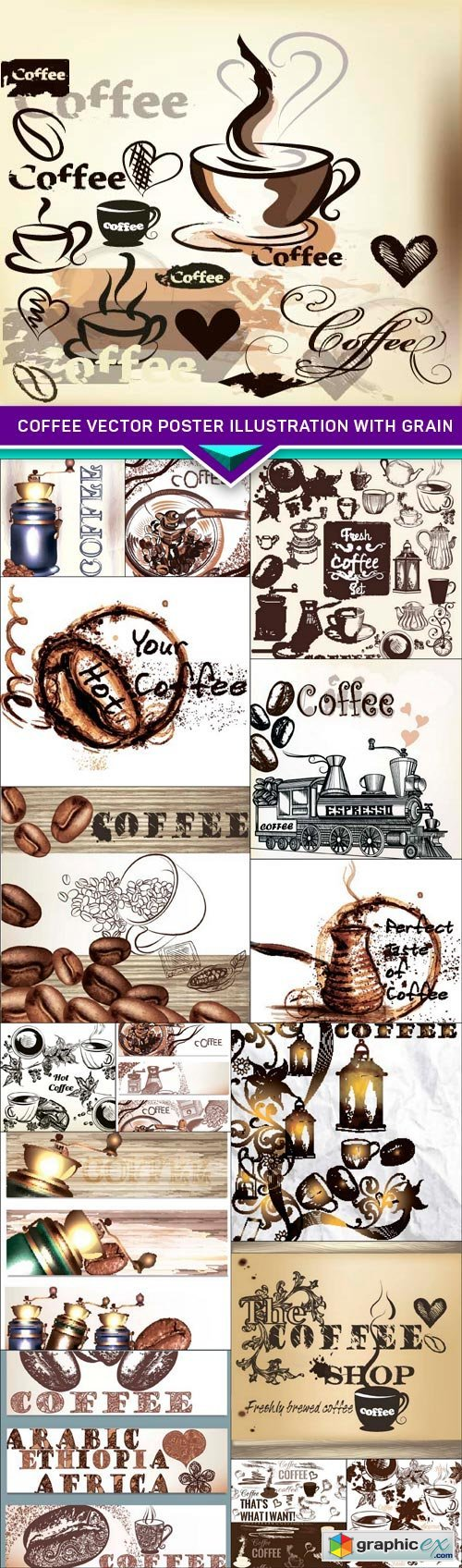 Coffee vector poster illustration with grain 16x EPS