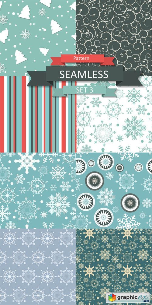 Vector Christmas Pattern with Snowflakes Set