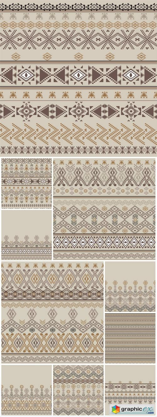 Ethnic patterns, vector backgrounds