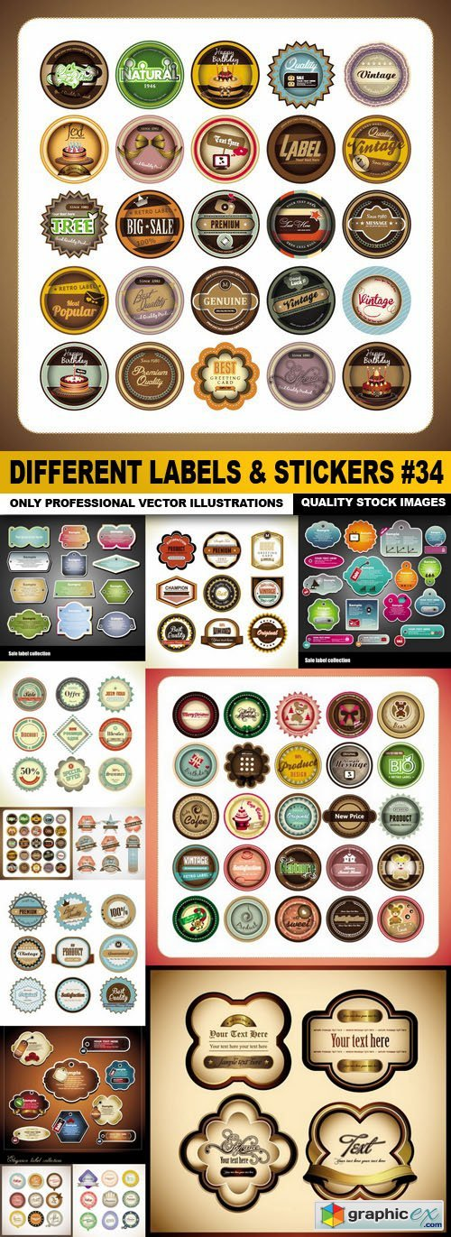 Different Labels & Stickers #34 - 12 Vector