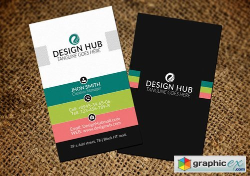Vertical Business Card Template - 321026