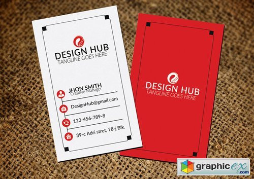 Red & White Vertical Business Card